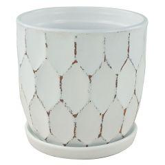 "5.5"" White Distressed Honeycomb Pot"