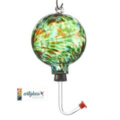 Glass Orb Hummingbird Feeder with Green and Amber Marble De