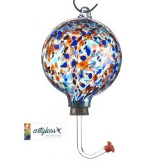Glass Orb Hummingbird Feeder with Blue and Purple Marble De
