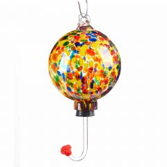 Art Glass Hummingbird Feeder with Yellow, Red and Blue Desig