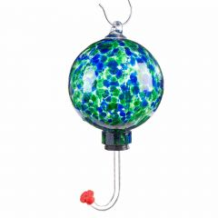 Art Glass Hummingbird Feeder with Blue and Green Design