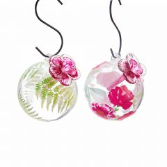 Hummingbird Feeder with Fern Leaves and Flower Design