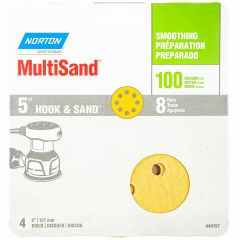 """5"""" 8 Hole Norton Hook And Sand Disc 100 Grit-4/Pack"""