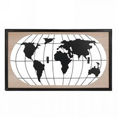 Metal And Wood Map Of World