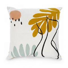 Cushion With Mustard Yellow Leaf