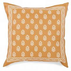 Gold Cushion With Floral Motif