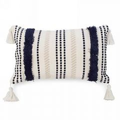 Beige And Navy Striped Tutfed Cushion