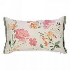 Floral Print Linen Like Rectangle Cushion
