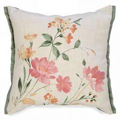 Floral Print Linen-Like Cushion