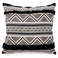 Black And Natural Aztec Print Cushion