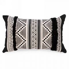 Rectangle Black And Natural Aztec Print Cushion