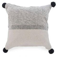 Beige And Black Band Cushion With Pompoms