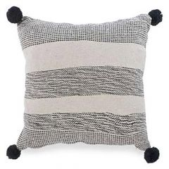 Beige And Black Stripe Cushion With Pompoms