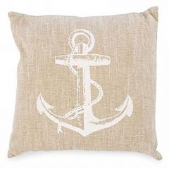 Beige Linen Anchor Cushion