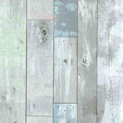 Dean Blue Distressed Wood Panel Wallpaper