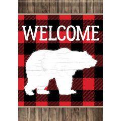 Bear Plaid Garden Durasoft Large Flag