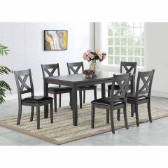 Sorrento 7 Piece Dining Set-Matte Black