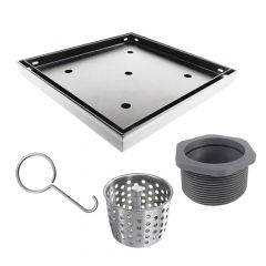 """Shower Drain 6""""x6"""" With Tile-Insert In Stainless Steel"""