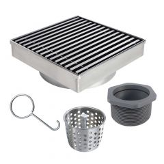 """Shower Drain 6""""x6"""" With Linear Grate In Stainless Steel"""