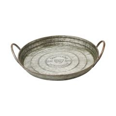 """13"""" Small Round Galvanized Steel Serving Tray"""