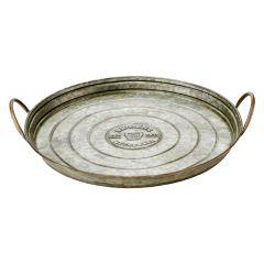 """17"""" Large Round Galvanized Steel Serving Tray"""