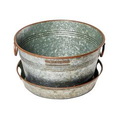 17L Round Aged Galvanized Beverage Tub And Tray