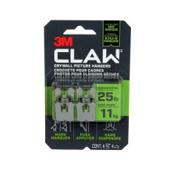 CLAW Drywall Picture Hanger 25 lb 4 hangers, 4 markers