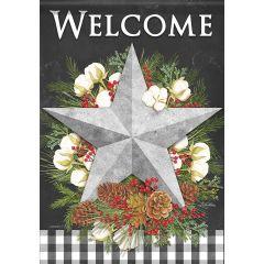 Farmhouse Christmas Garden Glitter Flag