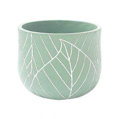 """6.75"""" Mint Green Leaf Pot"""