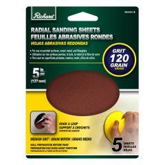 "5"" Round 120 Grit Sanding Sheet-5/Pack"