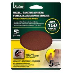 "5"" Round 150 Grit Sanding Sheet-5/Pack"