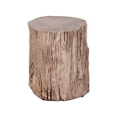 Faux Wood Stump Side Table