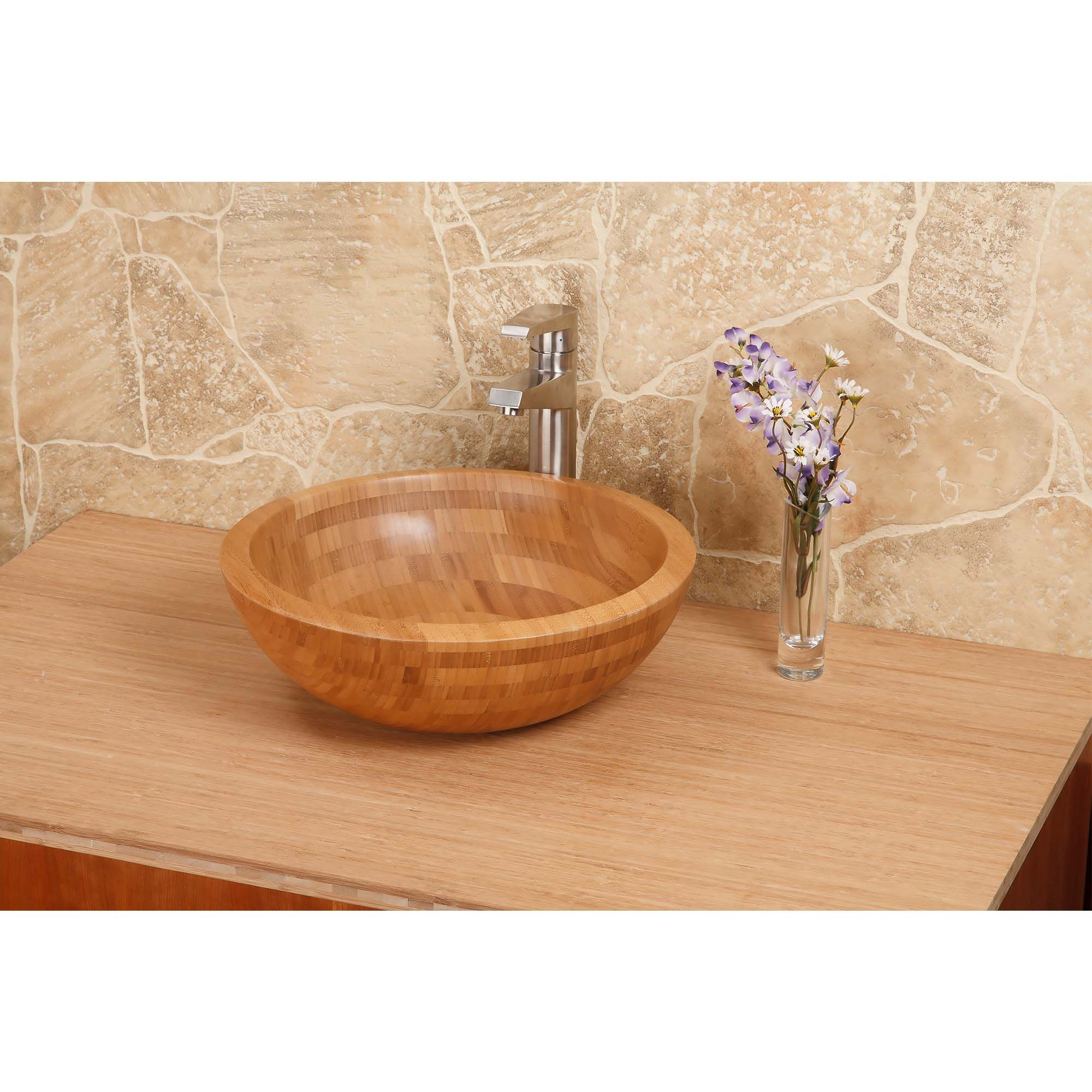 Bamboo Round Above Counter Bathroom Sink