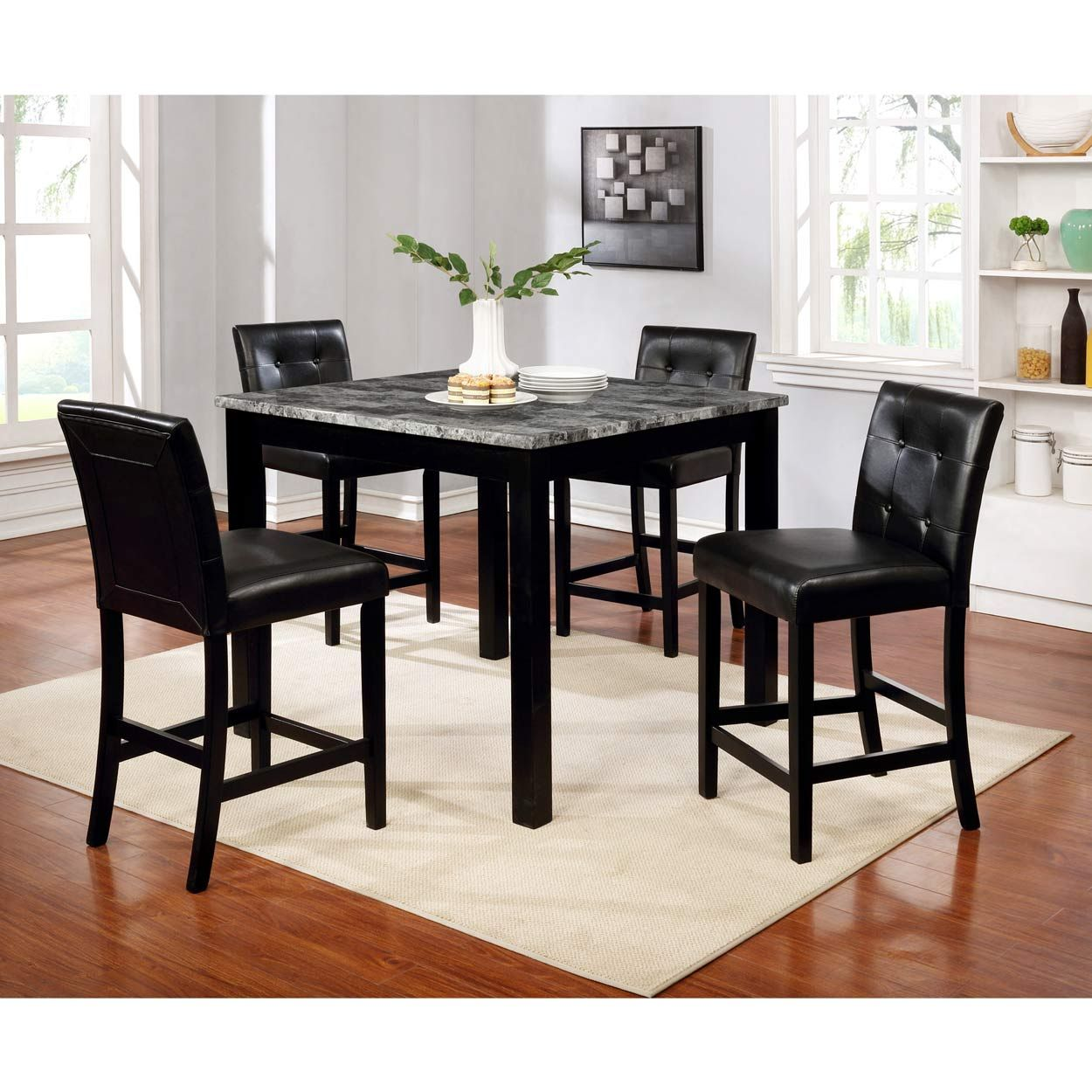 Omaha 9 Piece Counter Height Dining Set   Black