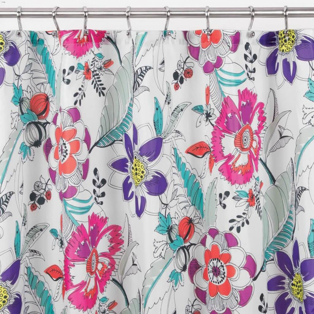 Bright Multicolour Painterly Floral Shower Curtain 72