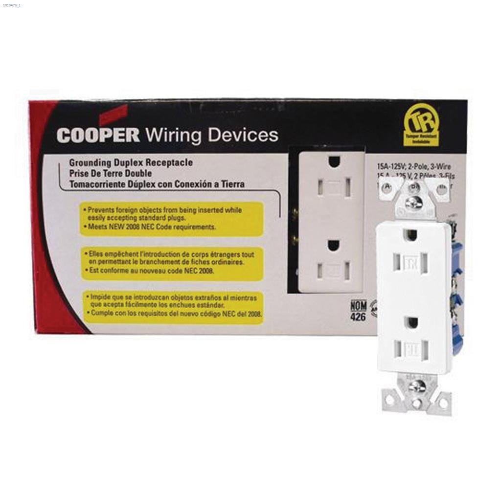 Cooper Wiring Devices White Decorator Duplex Receptacle A Plug Socket Australia 15a 2p 3w