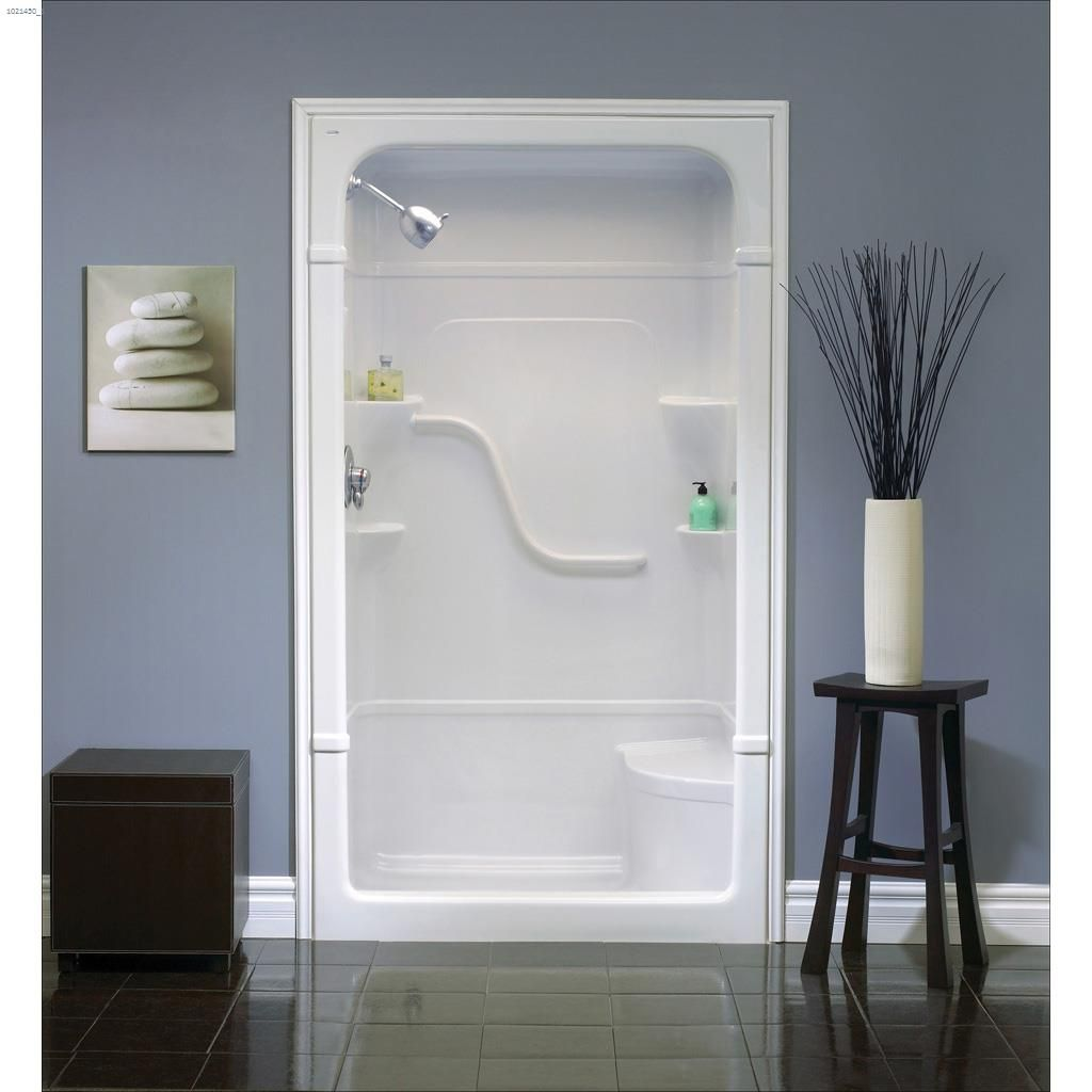 Home 60 x 34 1 4 x 84 1 2 3 piece seat shower stall