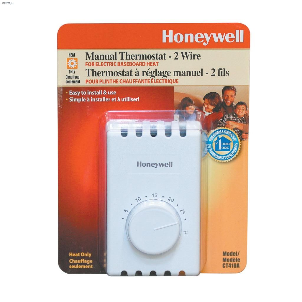 Honeywell International White Economy 2 Wire Thermostat Wiring For Baseboard Heater