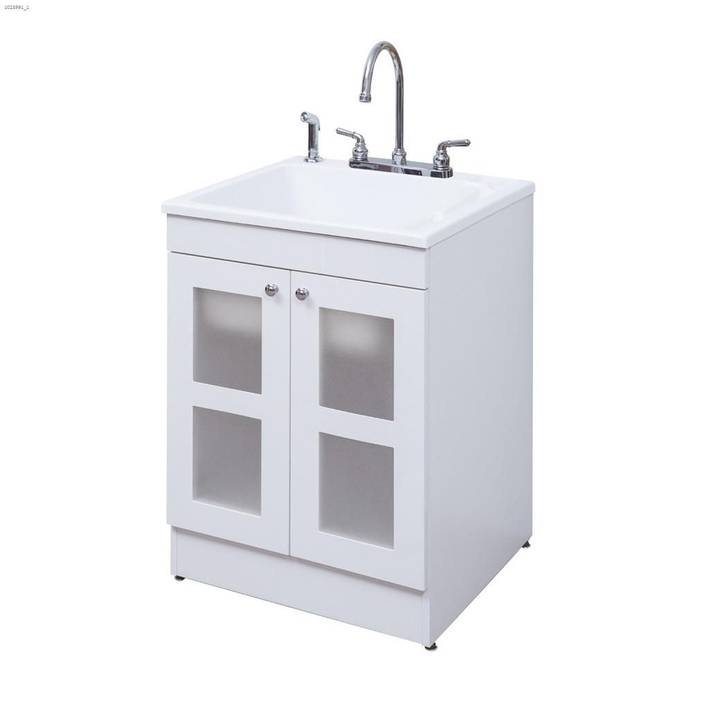 Kent Dolphin Plumbing 24 White Mdf Laundry Cabinet With 2