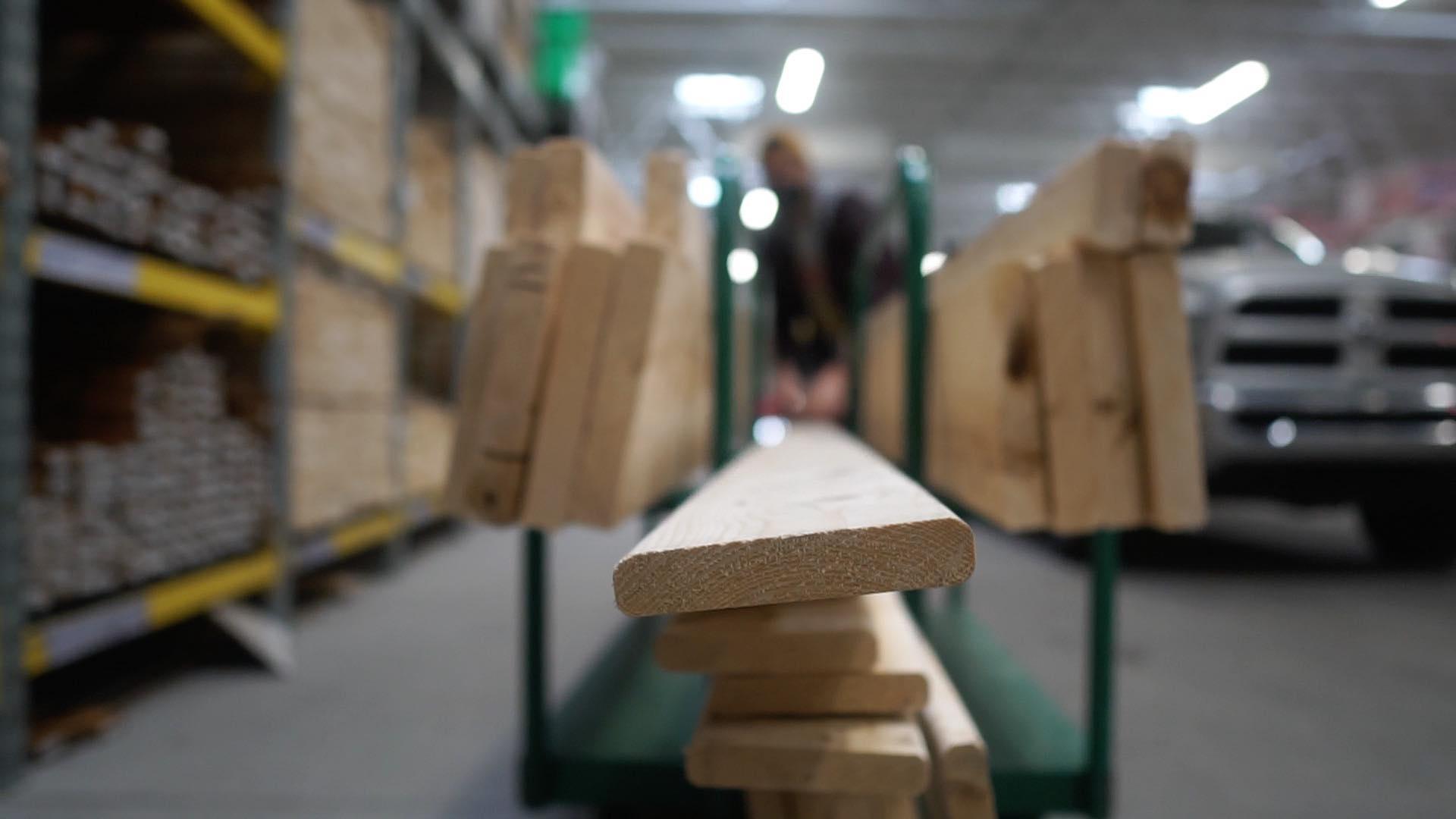lumber on lumber cart