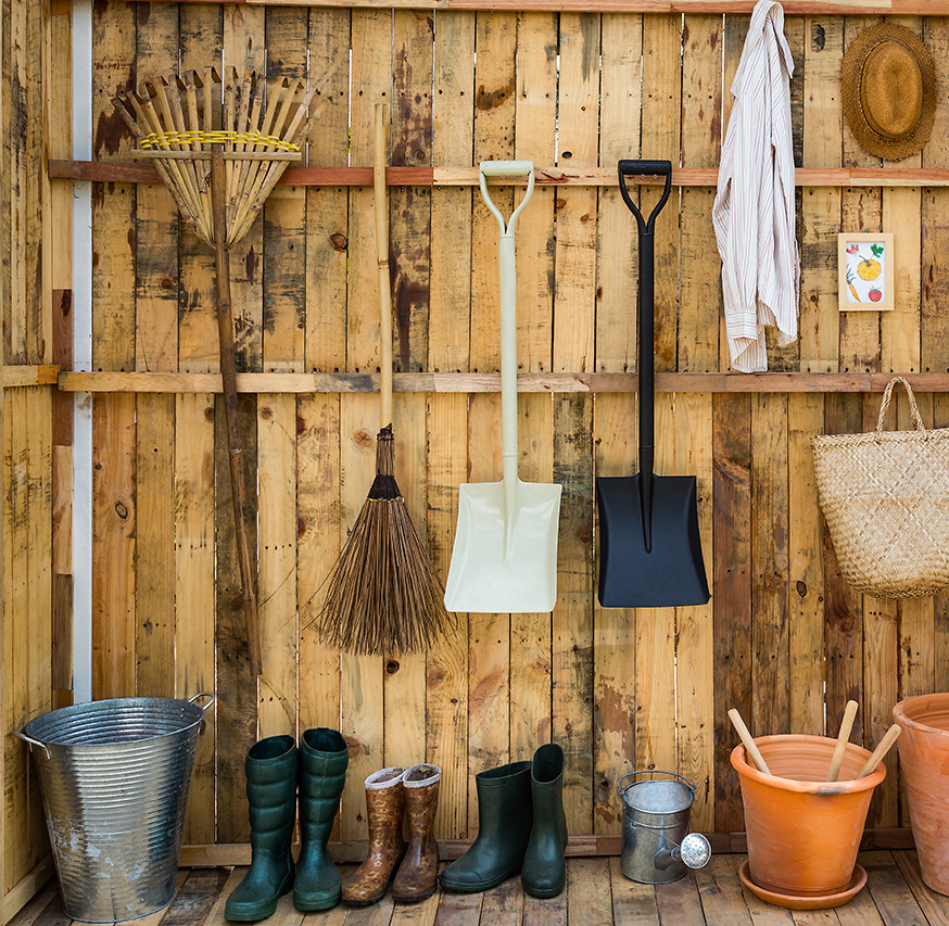 tools hanging in shed