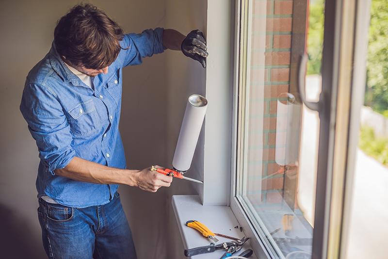 Seal the window with caulking