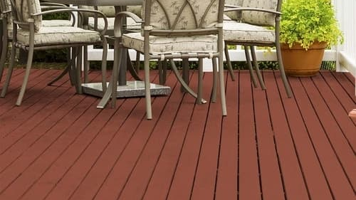 red-stained deck with patio furniture