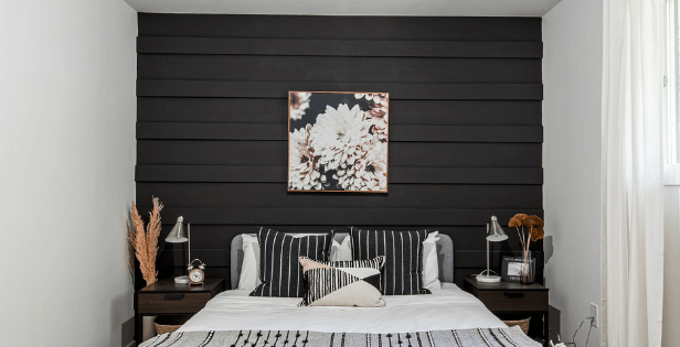 black accent wall with trim front view