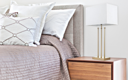 gold beside table lamp