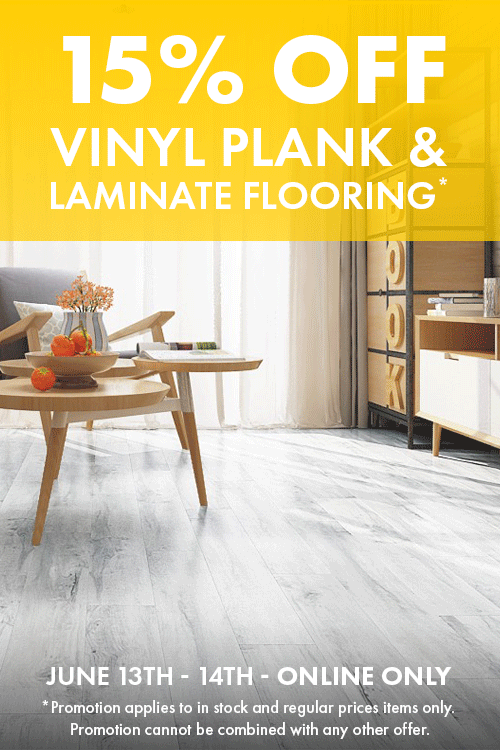 15% off on Vinyl plank & laminate flooring