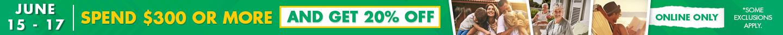 Spend $300 Get 20% Off