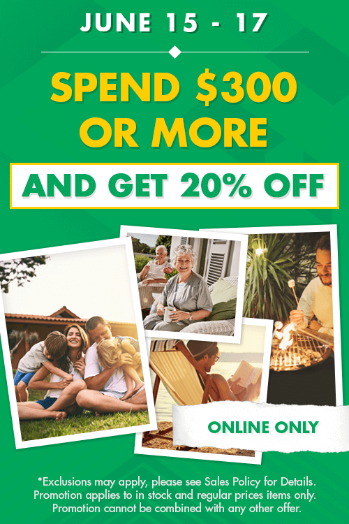 spend $300 or more and get 20% off