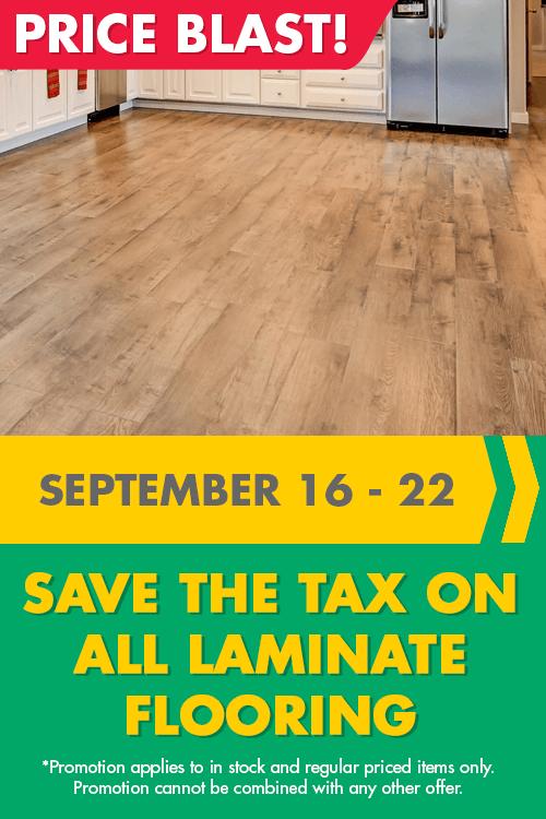 price blast - save the tax on all laminate flooring