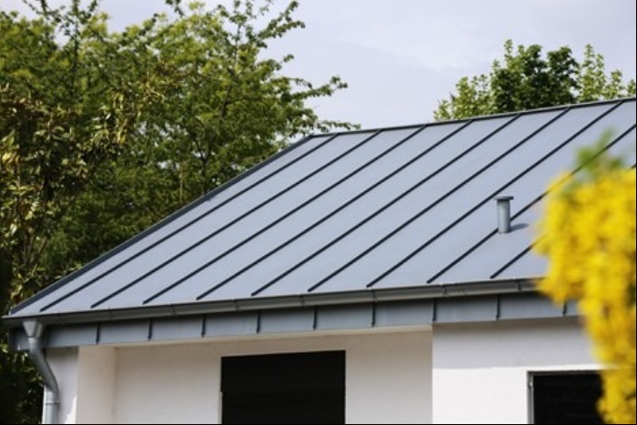Metal roof panels on house